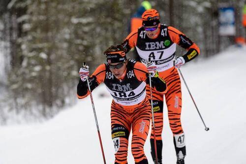 Christoffer Callesen og Kjetil Hagtvedt Dammen i et langt utbrudd under Vasaloppet i 2016. Foto: Rauschendorfer/NordicFocus