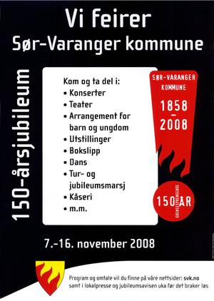 Jubileumsplakat Sør-Varanger kommune 150 årsfeiring