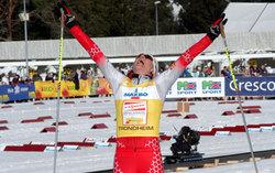 Petra Majdic jubler for dagens seier i Granåsen.